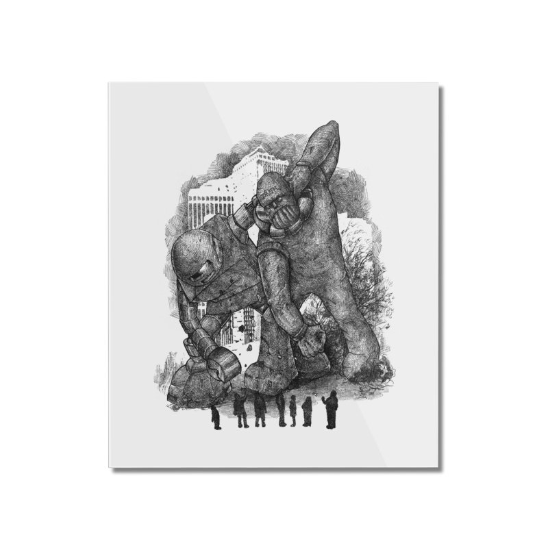 Robot vs. Golem Home Mounted Acrylic Print by Robbie Lee's Artist Shop