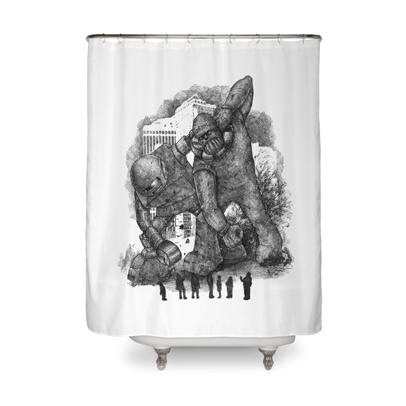 Robot vs. Golem Home Shower Curtain by Robbie Lee's Artist Shop