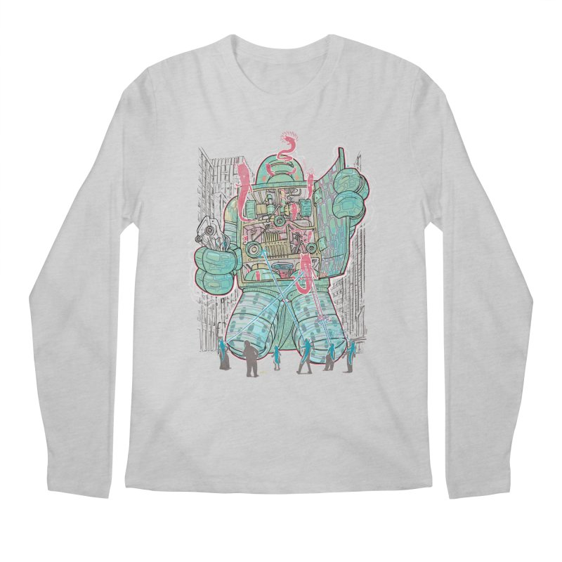 Haunted Robot (with Edgar R. McHerly) Men's Longsleeve T-Shirt by Robbie Lee's Artist Shop