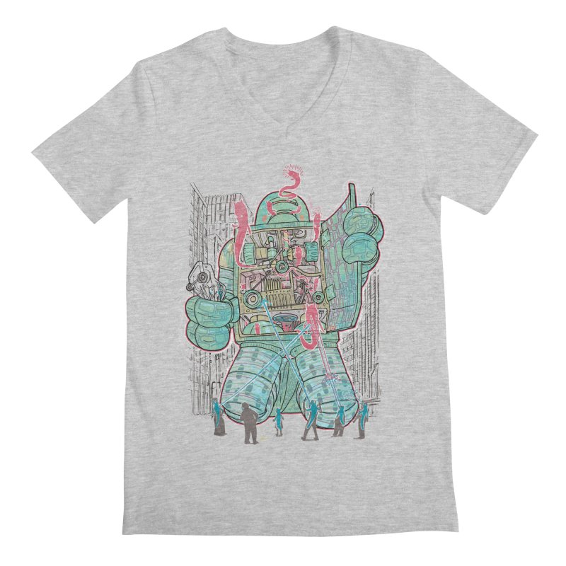 Haunted Robot (with Edgar R. McHerly) Men's V-Neck by Robbie Lee's Artist Shop