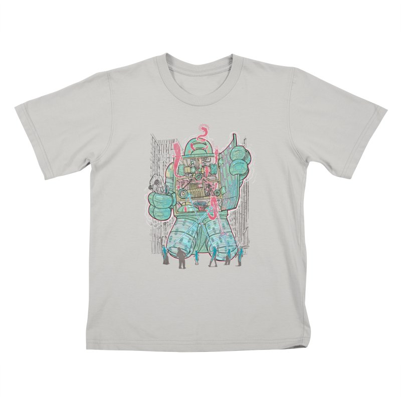 Haunted Robot (with Edgar R. McHerly) Kids T-Shirt by Robbie Lee's Artist Shop