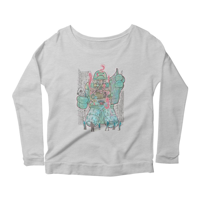 Haunted Robot (with Edgar R. McHerly) Women's Longsleeve Scoopneck  by Robbie Lee's Artist Shop