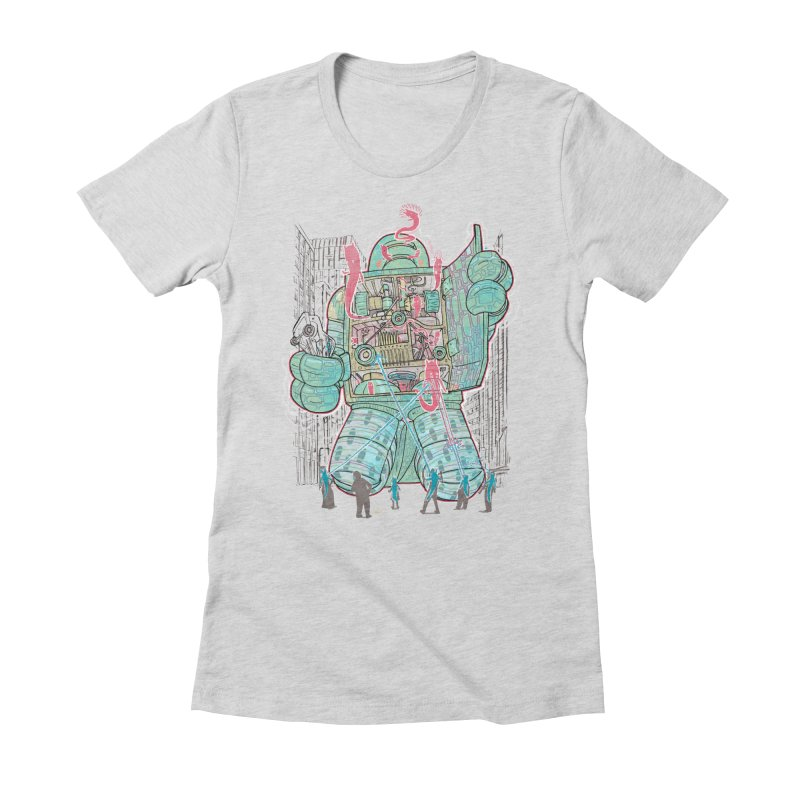 Haunted Robot (with Edgar R. McHerly) Women's Fitted T-Shirt by Robbie Lee's Artist Shop