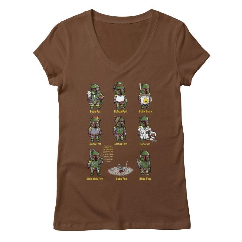 Lesser Known Intergalactic Bounty Hunters Women's V-Neck by Robbie Lee's Artist Shop