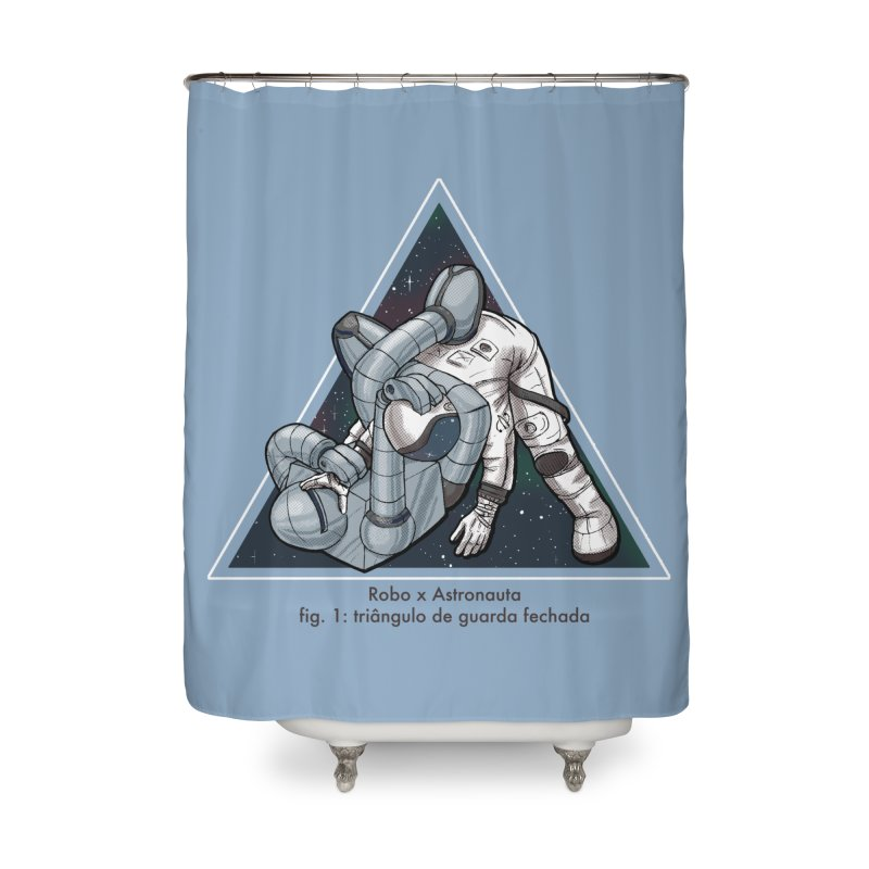 Robo x Astronauta Home Shower Curtain by Robbie Lee's Artist Shop