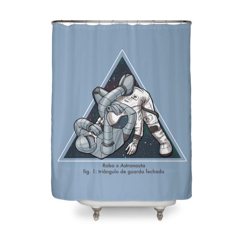 Robo x Astronauta Home Shower Curtain by Robbie Lee's Artist Shop