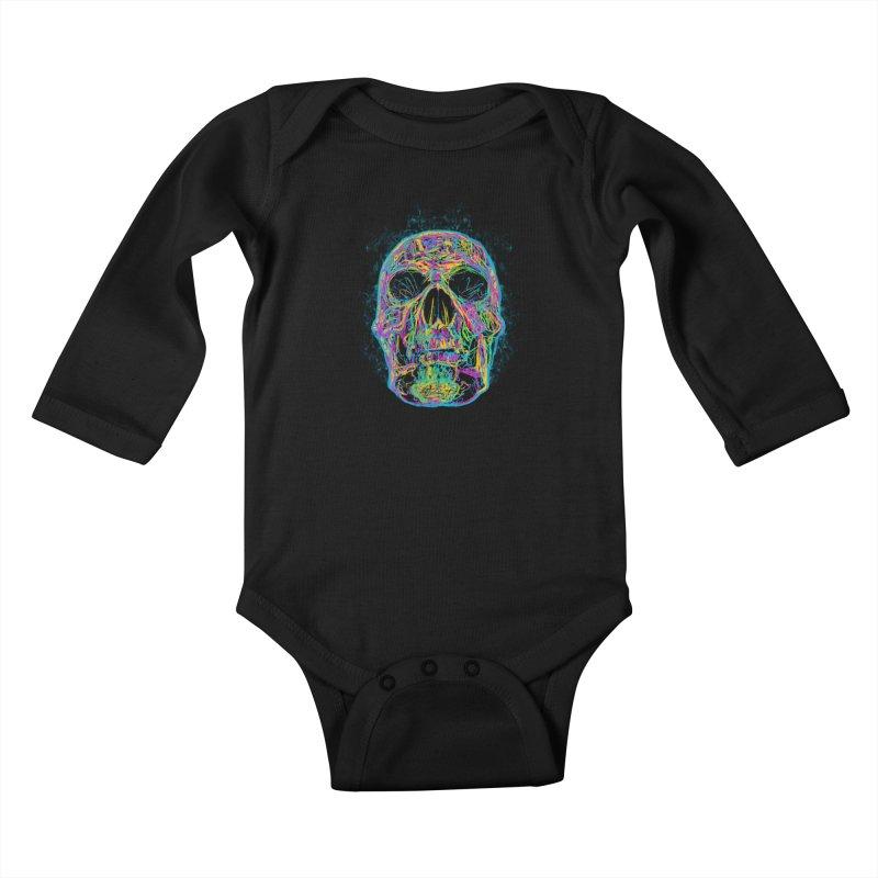 NEON SKULL Kids Baby Longsleeve Bodysuit by robbyiodized's Artist Shop