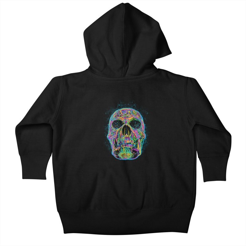 NEON SKULL Kids Baby Zip-Up Hoody by robbyiodized's Artist Shop