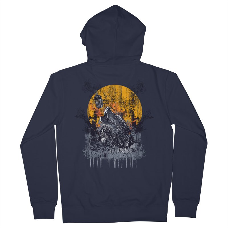 WOLF'S SERENADE Men's French Terry Zip-Up Hoody by robbyiodized's Artist Shop