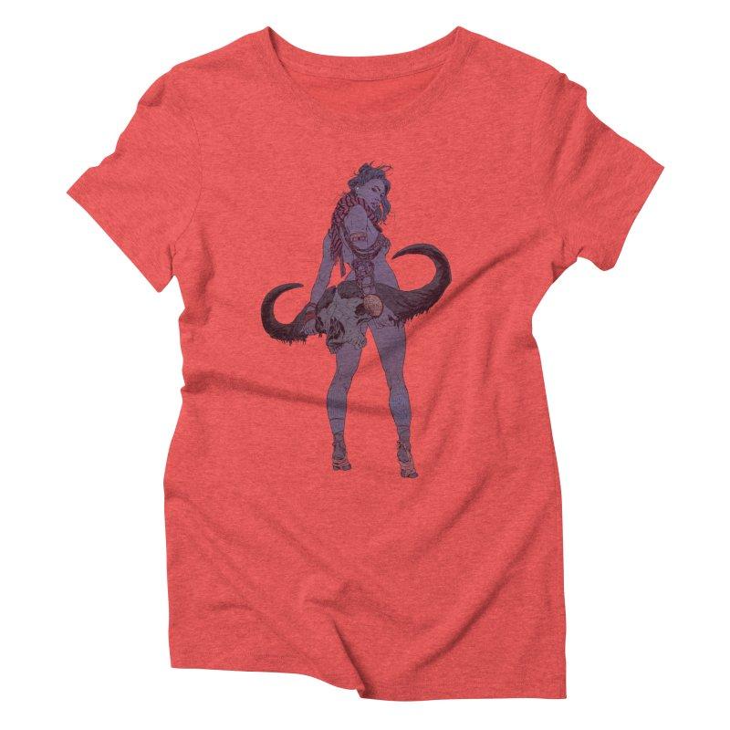 Buffalo Skull Women's Triblend T-Shirt by Robert Sammelin