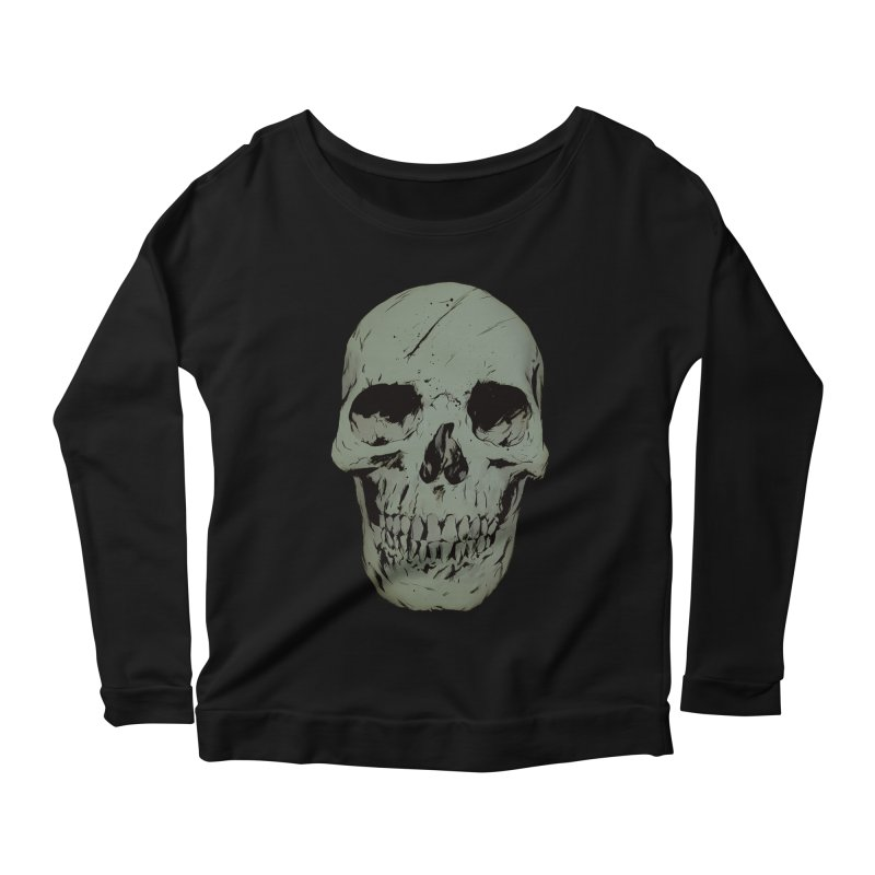 Skull Women's Scoop Neck Longsleeve T-Shirt by Robert Sammelin