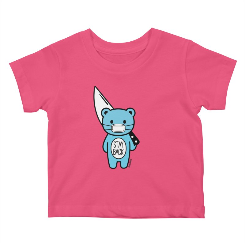 Stay Back Mood Bear Kids Baby T-Shirt by Robo Roku