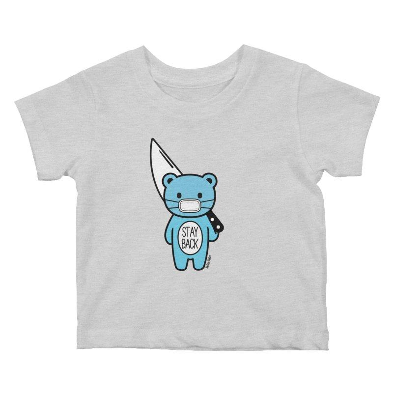 Stay Back Mood Bear Kids Baby T-Shirt by Robo Roku