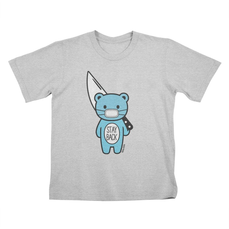 Stay Back Mood Bear Kids T-Shirt by Robo Roku
