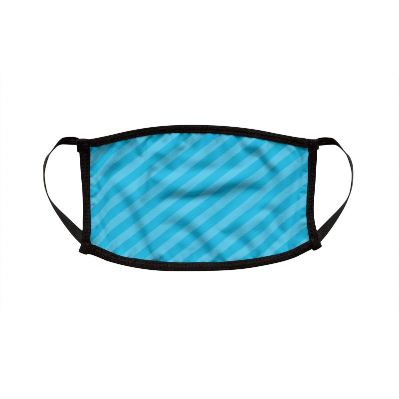 Blue Stripes Accessories Face Mask by Robo Roku