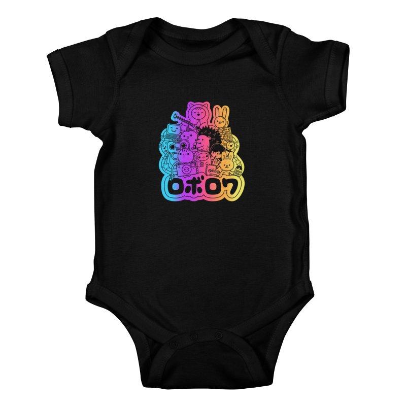 Retrocade Rainbow Fun Kids Baby Bodysuit by Robo Roku