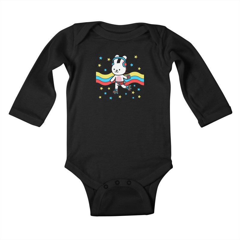 Retrocade LP Skate Kids Baby Longsleeve Bodysuit by Robo Roku