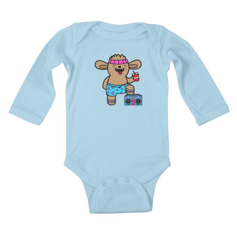 Retrocade Wow Wow Hangout Kids Baby Longsleeve Bodysuit by Robo Roku