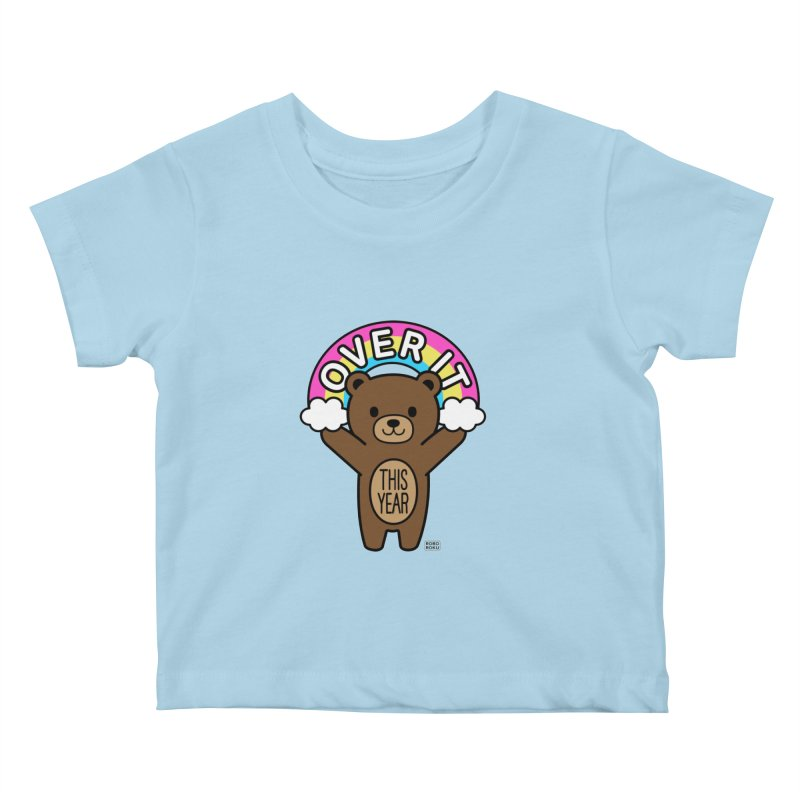 Over It! This Year Mood Bear Kids Baby T-Shirt by Robo Roku