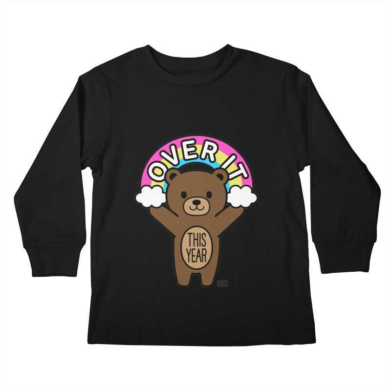 Over It! This Year Mood Bear Kids Longsleeve T-Shirt by Robo Roku