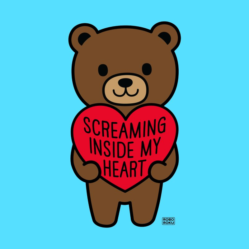 Screaming Inside My Heart Mood Bear Kids Longsleeve T-Shirt by Robo Roku