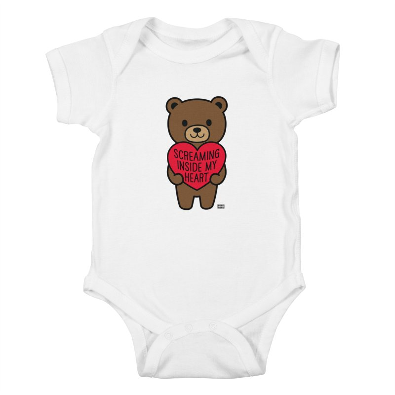Screaming Inside My Heart Mood Bear Kids Baby Bodysuit by Robo Roku