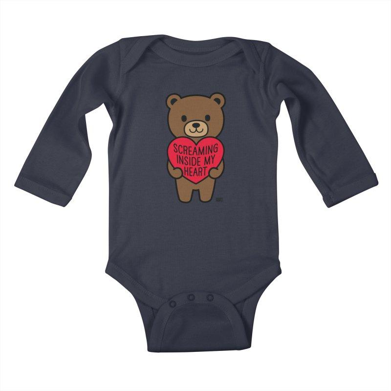 Screaming Inside My Heart Mood Bear Kids Baby Longsleeve Bodysuit by Robo Roku