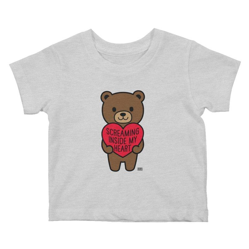 Screaming Inside My Heart Mood Bear Kids Baby T-Shirt by Robo Roku