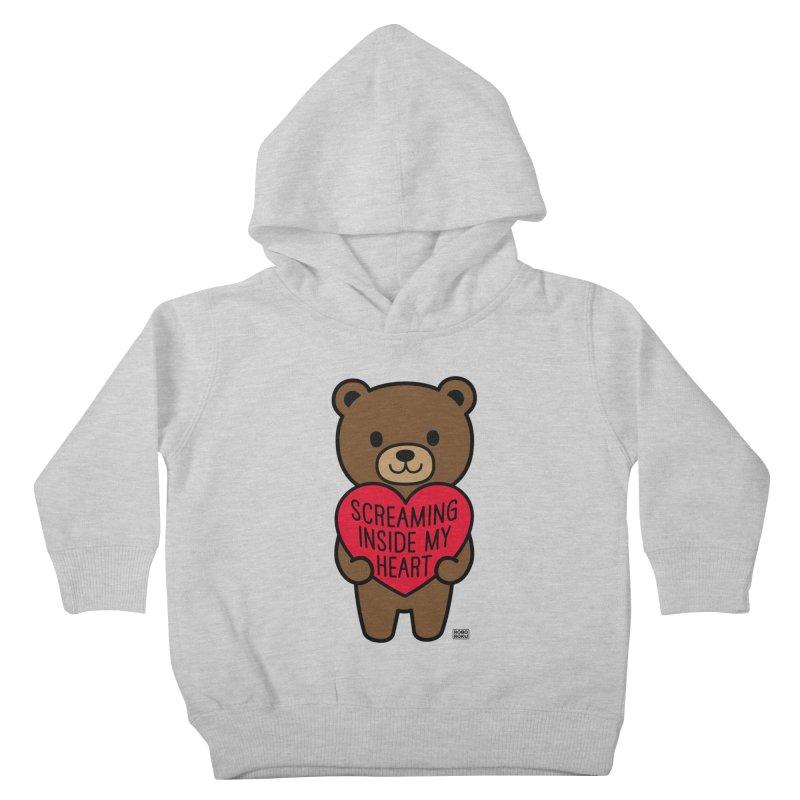 Screaming Inside My Heart Mood Bear Kids Toddler Pullover Hoody by Robo Roku