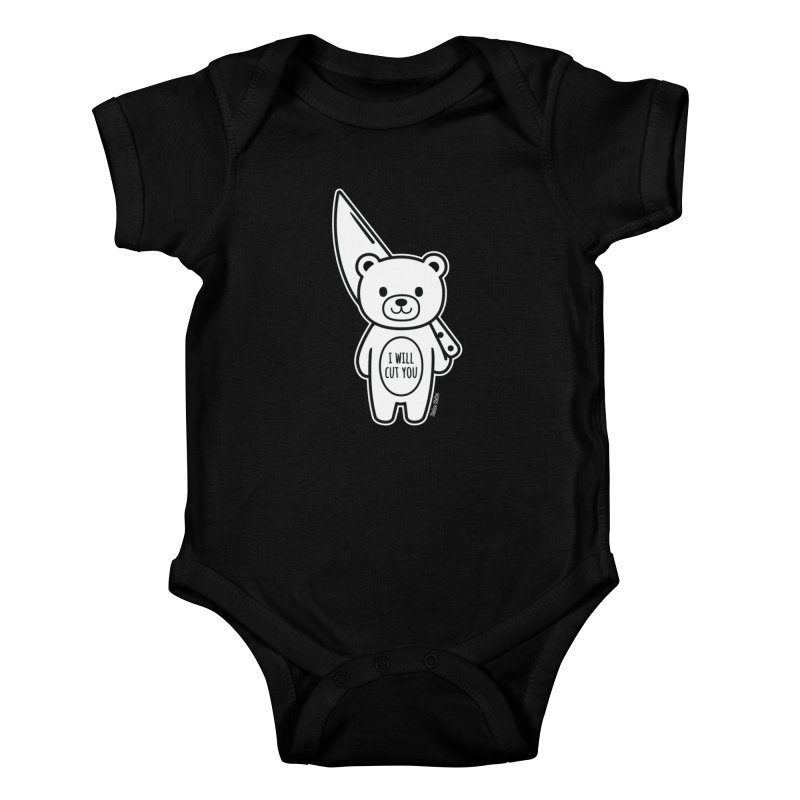I Will Cut You Bear Kids Baby Bodysuit by Robo Roku