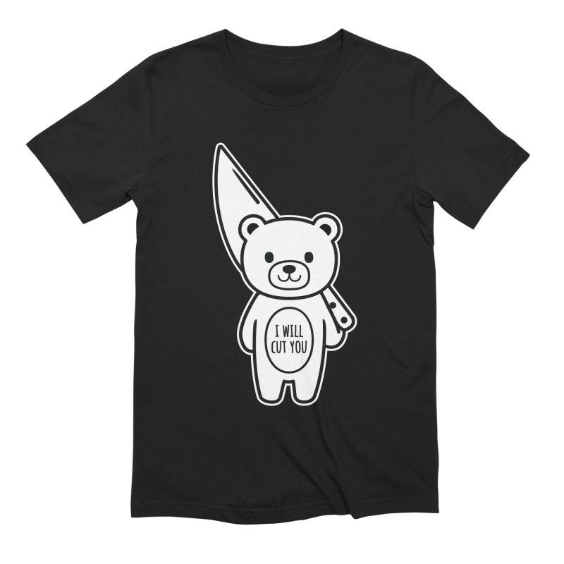 I Will Cut You Bear Men's Extra Soft T-Shirt by Robo Roku