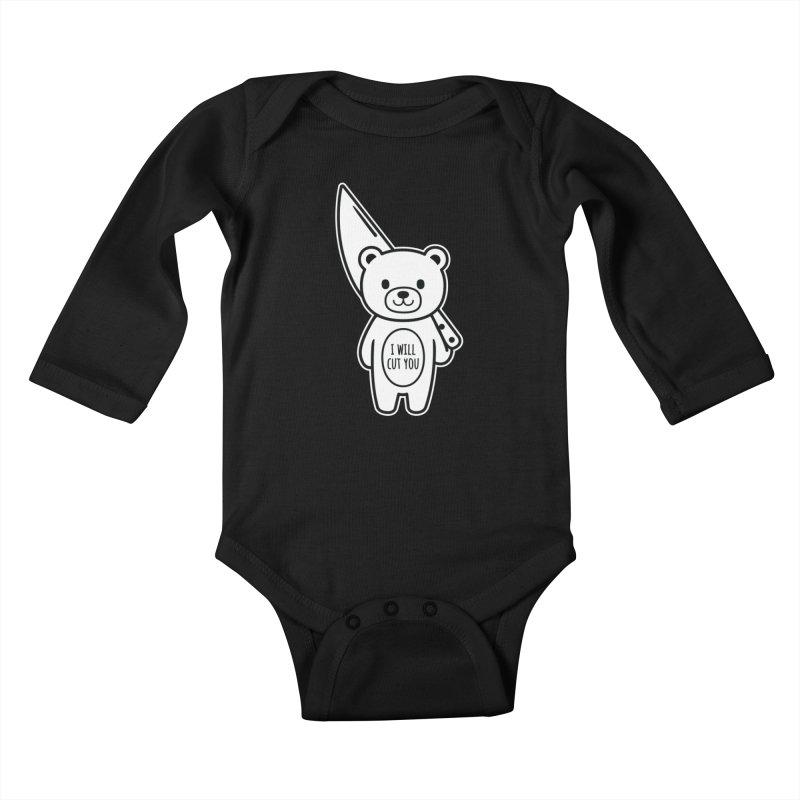 I Will Cut You Bear Kids Baby Longsleeve Bodysuit by Robo Roku