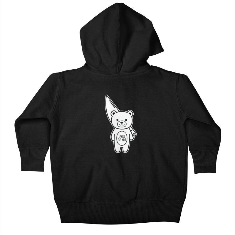 I Will Cut You Bear Kids Baby Zip-Up Hoody by Robo Roku