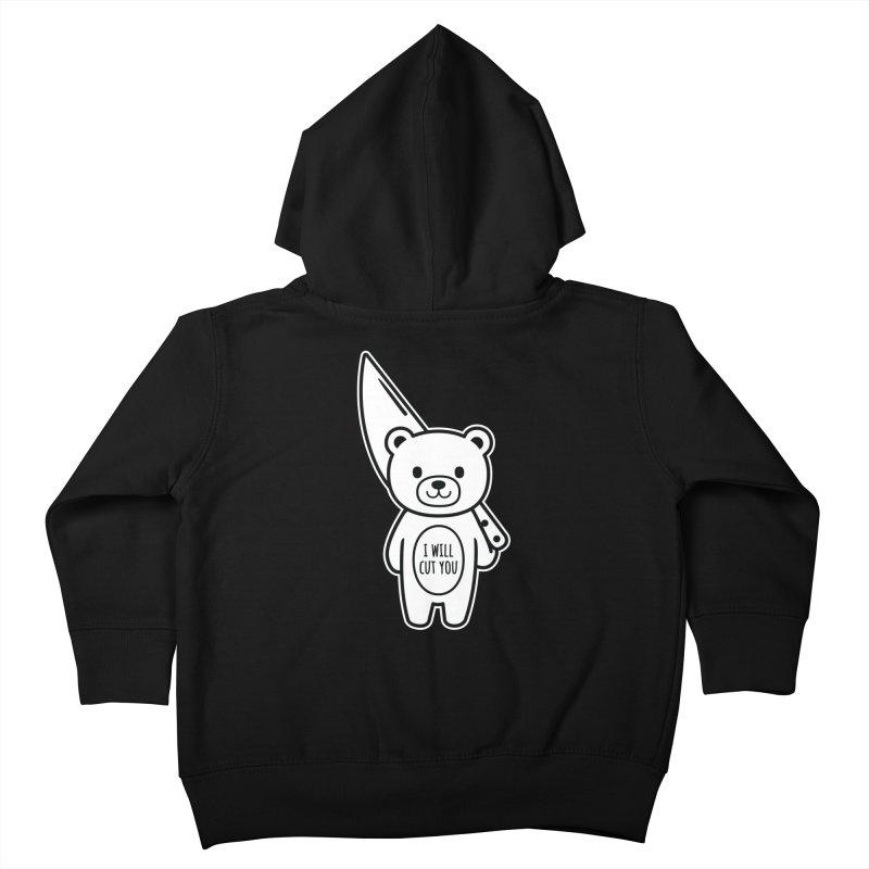 I Will Cut You Bear Kids Toddler Zip-Up Hoody by Robo Roku