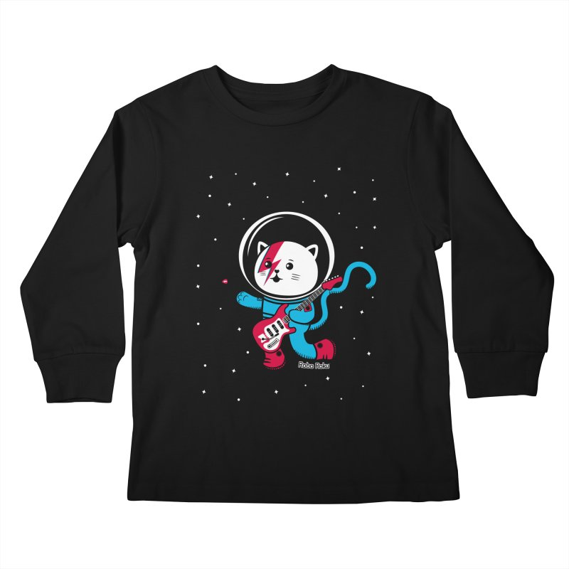 Major Tom Cat (Space Oddity Variant) Kids Longsleeve T-Shirt by Robo Roku