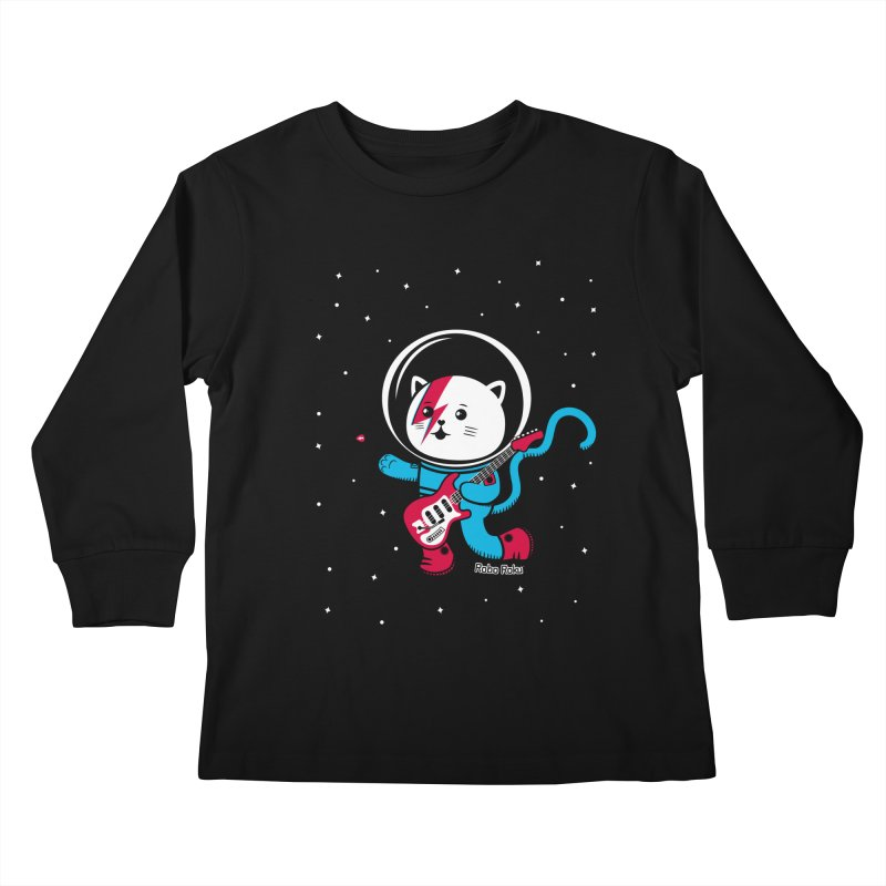 Major Tom Cat (Space Oddity Variant) Kids Longsleeve T-Shirt by Robo Roku
