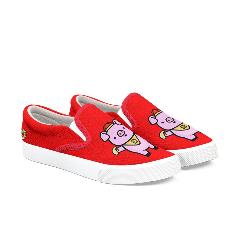 Year of the Pig - Fú the Pig Women's Slip-On Shoes by Robo Roku