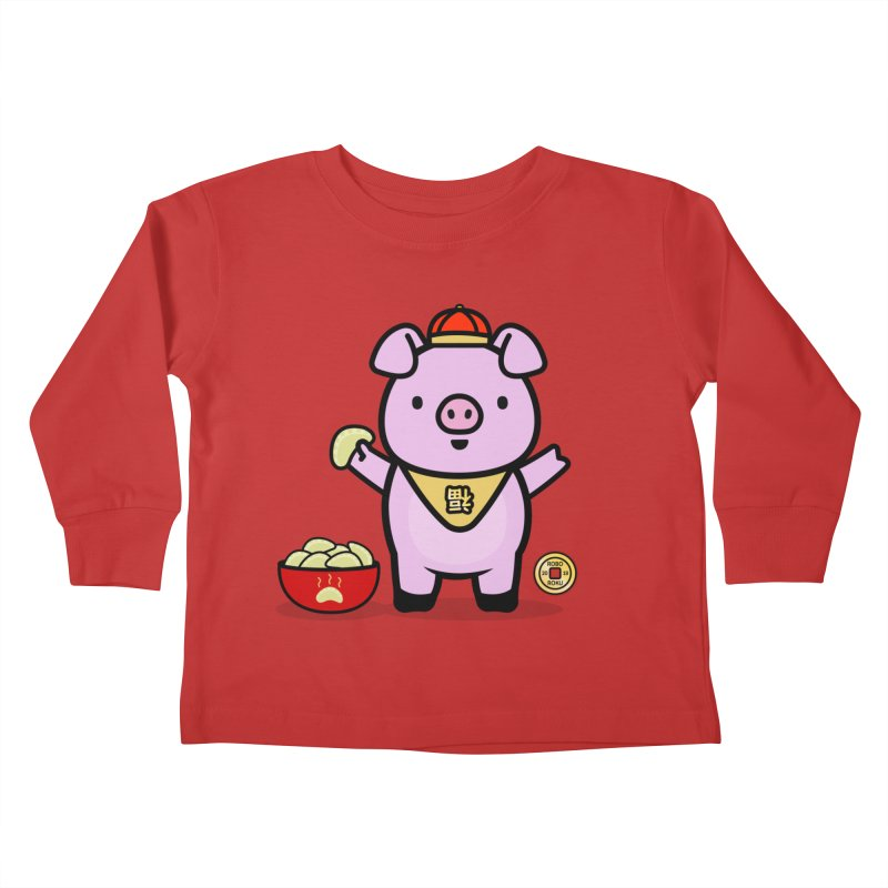 Year of the Pig - Fú the Pig Kids Toddler Longsleeve T-Shirt by Robo Roku