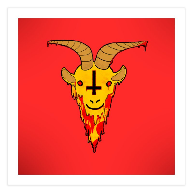 Hail Pizza Goat Home Fine Art Print by Robotboot Artist Shop
