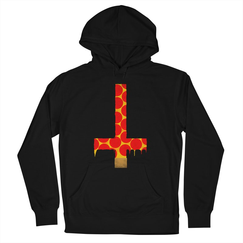 Hail Pizza Cross in Men's Pullover Hoody Black by Robotboot Artist Shop