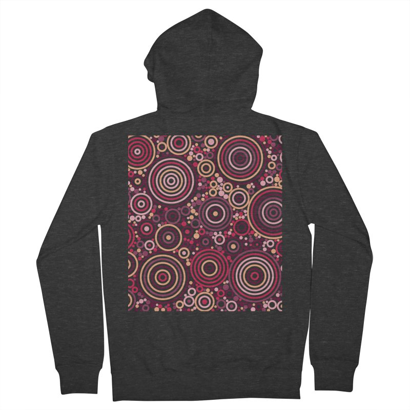 Concentric concentrate (reds) Women's French Terry Zip-Up Hoody by Robot Molecule