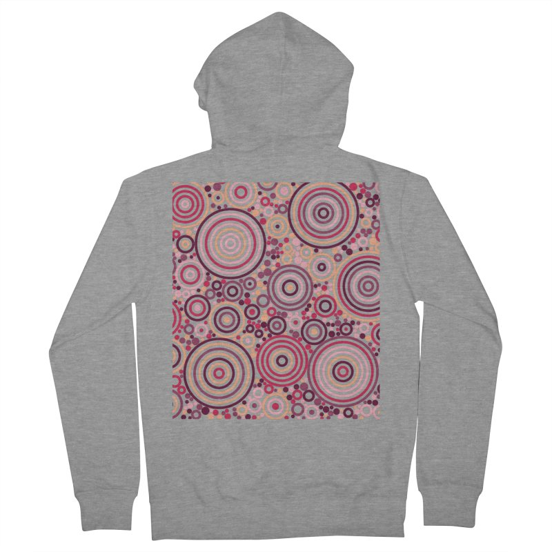 Concentric concentrate (reds) Men's French Terry Zip-Up Hoody by Robot Molecule