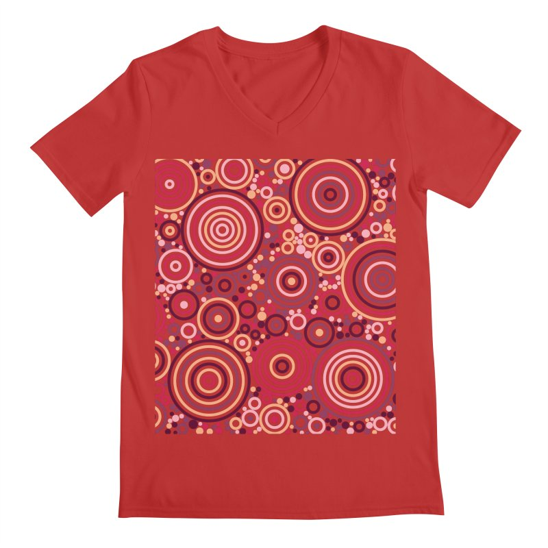 Concentric concentrate (reds) Men's V-Neck by Robot Molecule