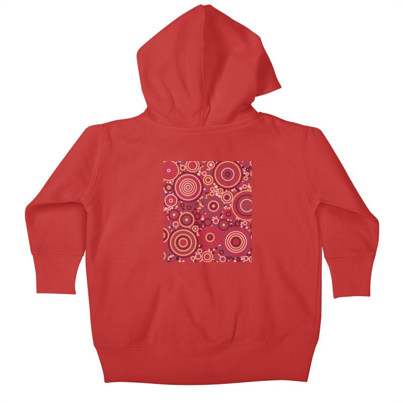 Concentric concentrate (reds) Kids Baby Zip-Up Hoody by Robot Molecule