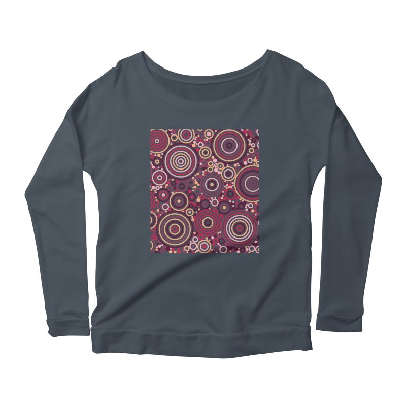 Concentric concentrate (reds) Women's Scoop Neck Longsleeve T-Shirt by Robot Molecule