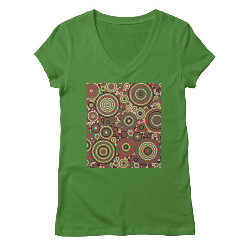 Concentric concentrate (reds) Women's Regular V-Neck by Robot Molecule