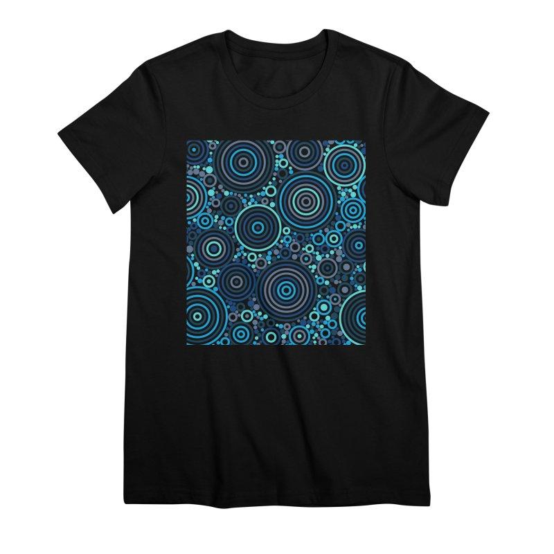 Concentric concentrate (blues) Women's Premium T-Shirt by Robot Molecule