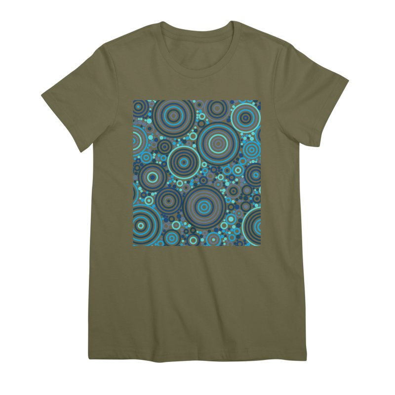 Concentric concentrate (blues) Women's Premium T-Shirt by Robot Molecule