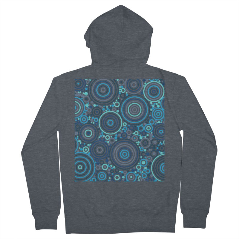 Concentric concentrate (blues) Men's French Terry Zip-Up Hoody by Robot Molecule