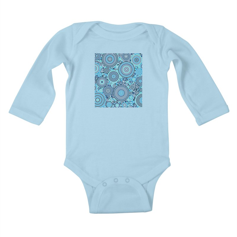Concentric concentrate (blues) Kids Baby Longsleeve Bodysuit by Robot Molecule